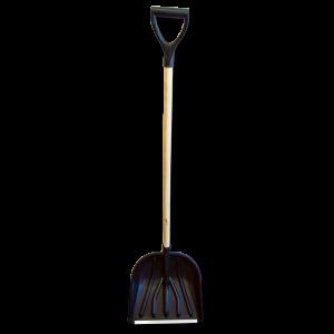 Лопата снеговая пластиковая с алюминиевой планкой, с деревянным черенком 460мм, черная, СИБИН 421843
