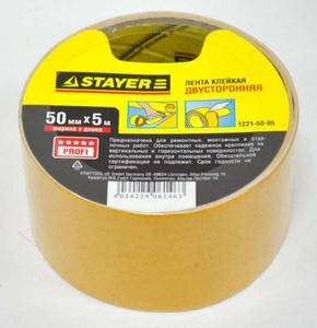 """Лента STAYER """"MASTER"""" клейкая, двусторонняя, на полипропиленовой основе, 50мм х 5м"""