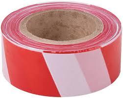 Лента сигнальная (красно-белая) 50мм х 100м