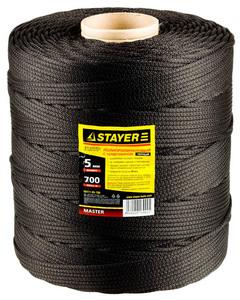 """Шнур STAYER """"MASTER"""" хозяйственно-бытовой, полипропиленовый, вязанный, c сердечником, черный, d 4,"""