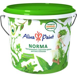 Краска водоэмульсионная, Alina Paint NORMA, 4,5 кг (интерьерная, протирающаяся, морозостойкая)