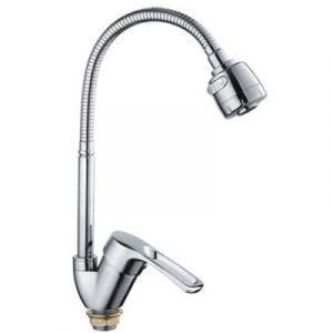 Смеситель для кухни 40к 43701-BF FRAP гибкий излив, гайка, боковая