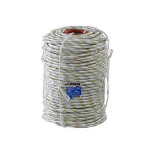 Фал плетёный капроновый СИБИН 16-прядный с капроновым серд. 6 мм, бухта 100 м, 650 кгс