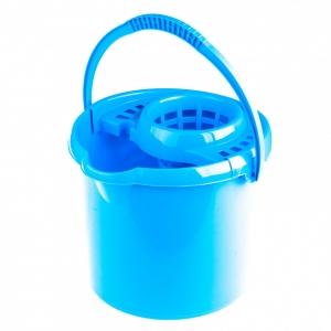 Ведро пластмассовое круглое с отжимом 9л, голубое, Россия