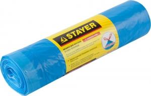 """Мешки для мусора, STAYER """"Comfort"""" с завязками, особопрочные, голуьые, 120л, 10шт"""