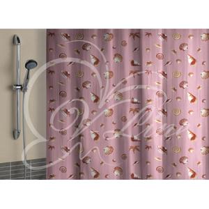 штора для ванной полиэтилен 180*180 розовый фон с кольцами