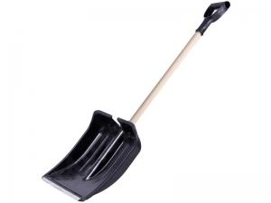 Лопата снегоуборочная пластм., с накл., дер.черенок,