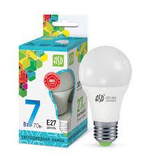 Лампа светод.7W E27 LED-A60-standart 220V 4000K 630Лм(форма ЛОН) ASD