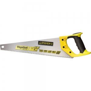 Ножовка по дереву(пила) STAYER TopCut 400мм, 5TPI, прямой крупный зуб, быстрый рез поперек волокон,